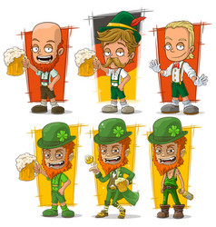 cartoon bavarian with beer character set vector image