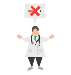 cartoon doctor man with speech bubble and saying vector image