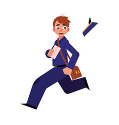 Cartoon postman character running away vector