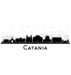 Catania italy city skyline silhouette with black vector