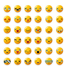 cheerful emoticon cute smile facial emotion emoji vector image