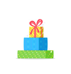 christmas gifts with red ribbon on upper vector image