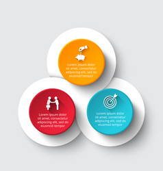 Circle infographic with 3 options or parts vector