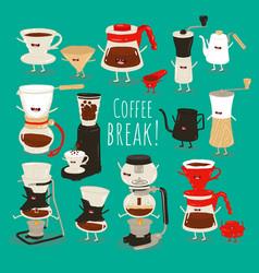 Coffee brewing methods set vector