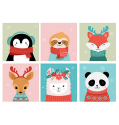 collection christmas cute animals merry vector image