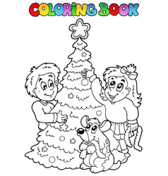 Coloring book christmas topic 3 vector