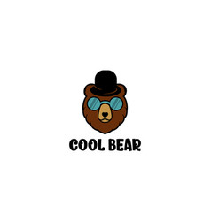 Cool bear with glasses and hat for logo design vector