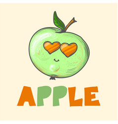 cool cartoon fashion apple with sunglasses and vector image