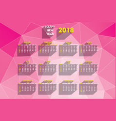 Creative new year 2018 calendar design vector