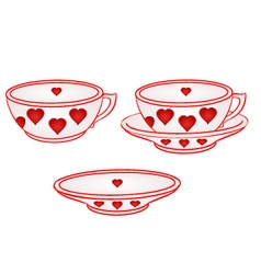 Cup with saucer with red hearts part of porcelain vector