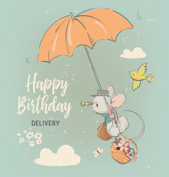 cute birthday mouse with flowers vector image
