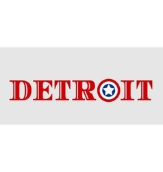 Detroit city name with flag colors styled letter O vector