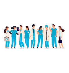 doctor nurse set male and female hospital vector image