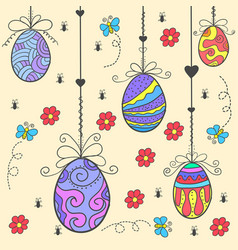 Doodle of easter egg style flat vector