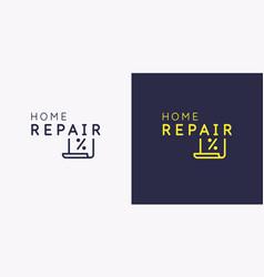 emblem home repair sticker on shop vector image