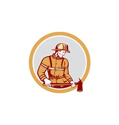 Fireman Firefighter Holding Fire Axe Circle vector image