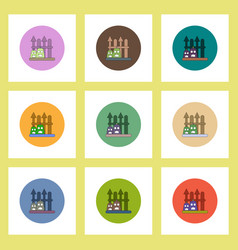 Flat icons halloween set of lanterns and fence vector