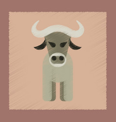 flat shading style icon cartoon bull vector image