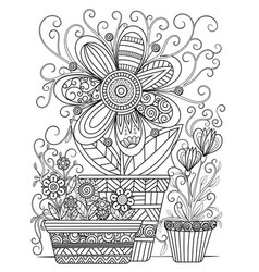 Floral coloring page vector