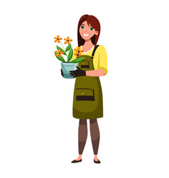 florist holding flower in pot isolated on white vector image