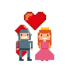 Game warrior and princess pixelated icon vector
