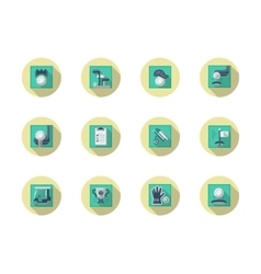 Golfing round flat color icons set vector