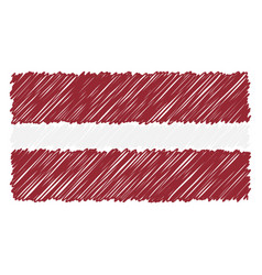 hand drawn national flag of latvia isolated on a vector image