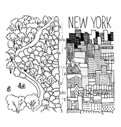 Hand drawn of Central Park in NY vector