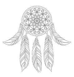 Hand drawn of ethnic dream catcher vector