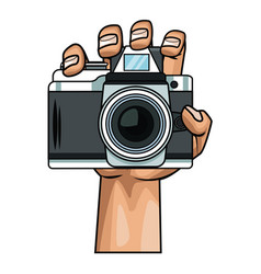 Hand holding camera pop art vector