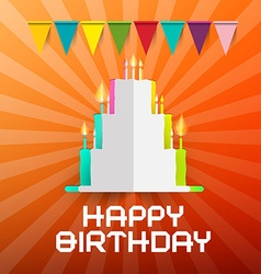 Happy birthday paper cut cake with candles and vector