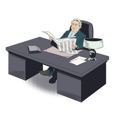 happy businessman at table read newspaper stock vector image