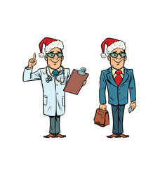 happy christmas doctor and businessman vector image