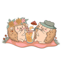 Hedgehogs on a picnic drink lemonade isolate vector