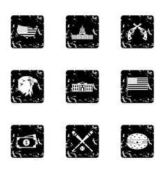 Holiday in USA icons set grunge style vector