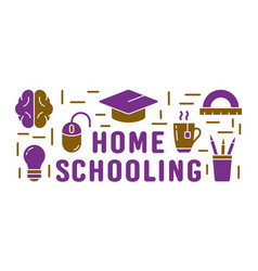 Home schooling text color horizontal poster vector
