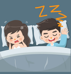 Husband snores loudly every night vector