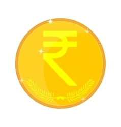 Indian rupees gold coin vector