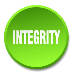 Integrity green round flat isolated push button vector