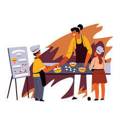Kids in school teaching to cook and bake vector
