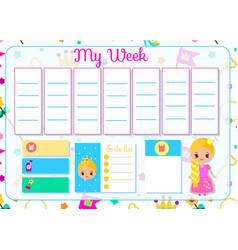 Kids timetable with cute princess weekly planner vector