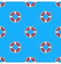 Lifebuoy Icon Nautical Pattern on Blue vector image