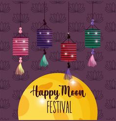 light lantern happy moon festival image vector image