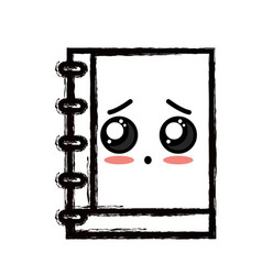 Line kawaii cute tender notebook tool vector