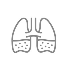 Lungs with phlegm line icon pleurisy edema vector