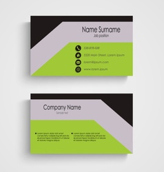Modern business card with green gray black pattern vector