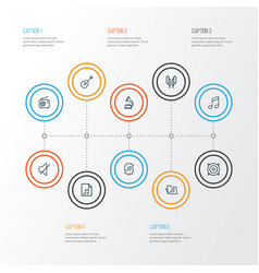 Multimedia outline icons set collection of orator vector