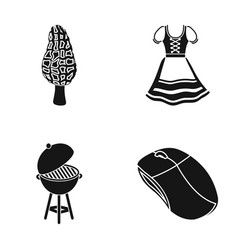 Mushroom morel dress and other web icon in black vector