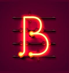 Neon font letter b art design signboard vector