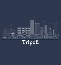 Outline tripoli libya city skyline with white vector